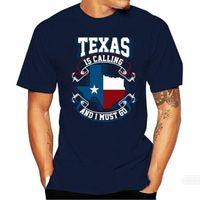 Erkekler Tişörtler Verano De 2021 O-Cuello Camiseta Top Nuevo Texas Está Llamando, Tengo Que IR La Bandera Nacional Negro