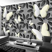 Пользовательские настенные настенные настенные настенные клейки обои современные минималистские моды 3D стереоскопическая цветочная бабочка живущая комната телевизор фона обои