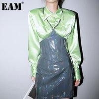 [EAM] Женщины стереоскопические светло-зеленые блузки отвороты с длинным рукавом свободные подходит рубашка мода прилив весна осень 2021 1dd0863 женские блузки шир