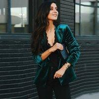 Velvet Woman Coat Autumn Winter Blazer Woman European Style Office Lady Suits H0918