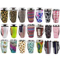 31 Diseño Imprimir Reutilizable 20oz Tapa de vaso Tapa de tapa Bolsas con hielo Copa de Copa de Neopreno Mangas aisladas Tazas Tazas Tazas de botella de agua Cubierta con mango de correa