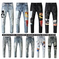 Mens Jeans Trendy Brand Casual Printed Denim Trousers Men and Women Were Thin Pants