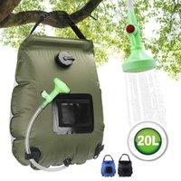 20L all'aperto escursionismo borse doccia riscaldamento solare riscaldamento campeggio arrampicata idratazione ingranaggi sacchetto d'acqua bagno con tubo flessibile per la doccia a commutazione