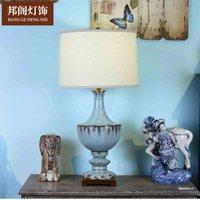 الأمريكية الأزرق السيراميك غرفة المعيشة غرفة نوم السرير الحديثة مصباح الجدول الزخرفية بسيطة