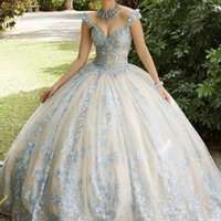 2022 Chic Ball Gown Quinceanera Dresses Lace Up Open Back Princess Prom Gowns Tulle Skirt Sweet 15 Masquerade Dress