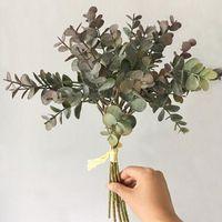 Bouquet Eucalyptus Money Leaf Interior Flower Arrangement Fake Plant For DIY Wedding Party Home Bedroom Office Decor Decorative Flowers & Wr