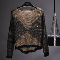 Sexy Hollow Sequined Loose Sweater Beading Crocheted Pullovers Bright Silk Bottoming Knitted Shirts Contrast Color Crop Tops Women's Sweater
