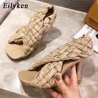 Factory_Store01 Сексуальные тонкие высокие каблуки мода дамы гладиатор сандалии плетение открытый носок скольжения на Рим слайды женские одежды Обувь размером 41 42