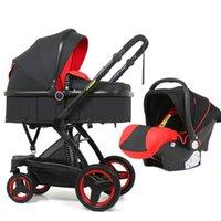 Cochecito de bebé 3 en 1PU Asiento de coche de lujo 2-en 1 Seguridad para bebé Seguridad plegable Cochecito de bebé Accesorios de muñeca Cuna Multifuncional plegable