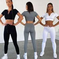 Womens Tracksuits gym clothes backless t shirt shorts leggings yoga running sports Golf high waist Gymshark Active tech fleece workout sets woman casual Yoga World