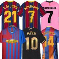 Ansu Fati Barcelona Soccer Jerseys 2021 22 Camiseta de Futbol Maradona Messi Griezmann de Jong COUTINIHO HOMBRES KIT DE NIÑOS Camisa de fútbol