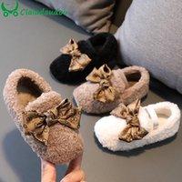 Flat Shoes 13.5-18.5cm Winter Flats For Children's Girls,Cute Lace Bowtie-knot Fur Warm Princess Dress With Velvet,Toddler Shoe
