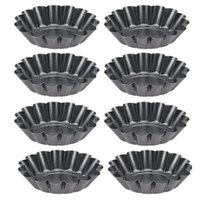 Baking & Pastry Tools Non-Stick Tart Quiche Flan Pan Mold Muffin Cup Pie Pizza Cake Cupcake Egg Tartlet 8Pcs