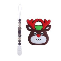 Christmas Baby Pacifier Chain Clips Teething Accessories Silicone Beads Teether Infant Feeding Newborn Teeth Practice Toys Food Grade Soother 2Pcs Sets B8374