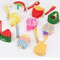 2021 Cartoon Children's Rainbow Silicone Handbag Push Poppers Bubbles Fidget Double-sided Crossbody Bags Fashion Kids Girl's Purse Cpin Case G0015F5