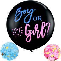 36 بوصة صبي أو فتاة بالون الأسود اللاتكس بالون مع النثار الجنس يكشف globos الطفل استحمام حزب الديكور Y0215
