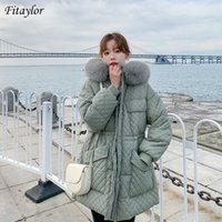 Fitaylor inverno mulheres para baixo parkas 90% branco pato casaco médio long grande pele capuz jaqueta quente espessura neve outwear mulheres
