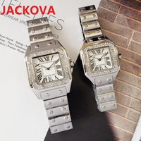 ICE-Out Bling Diamonds Ring Watch For Men Women Hip Hop Square Roman Dial Designer Mens Quartz Watches Stainless Steel Band Business Wristwatch Man Woman Unisex Gift
