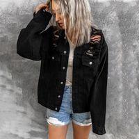 Women's Jackets TELOTUNY Fashion Denim Jacket Women Long Sleeve Hole Outcoat With Pockets Casual Solid Single Breasted Jean Outwear