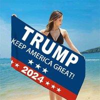 Presidente Trump 2024 Productos Verano Tiktok Bath Playa Playa Toalla Mantenga América Gran Matada de impresión de la bandera de Estados Unidos Mantas de secado rápido 150 * 75cm Material Febric G78G82L