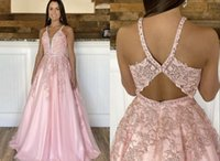 Unique Back Designer Pink Long Prom Evening Dresses Formal Gowns 2022 Deep V neck Lace Applique with Straps Tulle ruched Bridesmaid Cocktail Party Pageant Dresess