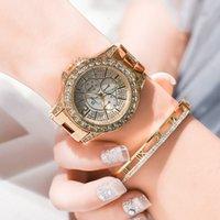 montre diamant / 80640 Longbo incrusté trois yeux de l'eau de la bande d'acier des femmes montre à quartz