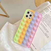 Colorful Heart Pop Fidget Push Bubble Toy Mobile Phone Shell Applies to apple* Stress Reliever Sensory Silicone Phone's Case LLA695
