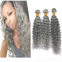 Gris Onda profunda Paquete humano Paquetes Virgin Peruano Gris Peinado Tejido profundo Curly Grey Hair Pelo Doble Extensiones de trama 300g Lot Longitud Mixta