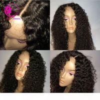 Peluca de cabello humano de encaje completo sin glanas 100% sin procesar Virgen brasileño pelucas rizadas profundas para mujer negra Freeship Freeship