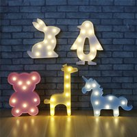 Lovely Animal Led Table Lamp Night Light Unicorn Lamps Romantic 3D Wall Lights Marquee Sign for Kids Children Gift Rabbit Bear Lighting