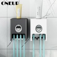 Bath Accessory Set ONEUP All-in-one Bathroom Accessories Automatic Toothpaste Squeezer Wall Toothbrush Holder Storage Rack For Organizer