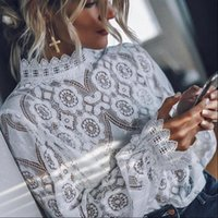 Women White Shirt Lace Tops And Blouse Ladies Long Sleeve St...