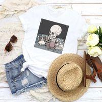Mulheres Camiseta Mulheres Graphic Gato Café Dia das Bruxas Verão Outono Desenhos Animados 90s Imprimir Tops Feminino Tees Roupas
