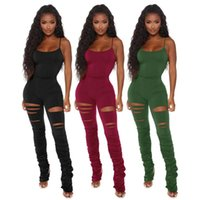 Women's Jumpsuits & Rompers 2021 Stretch Tracksuit Piece Summer Sexy Slim Sling Sleeveless Hole Hollow Stacked Trousers Jumpsuit Sportswear