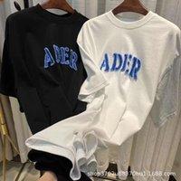 Verano de ADER21 Corrija la nueva camiseta Versión Denim Sensación de bordado Tamaño suelto Pareja Hombres y mujeres