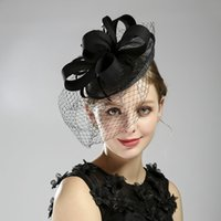 Nobel Black Feather Women Party Hat Netting Veil Cover the Face Wedding Bridal Short Veils Mask Ladies Formal Occasion Hair Accessories Headwear Headdress AL8901