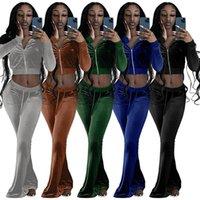 Matching 2 Piece tracksuits Velvet Tracksuit Women Jacket+Flare Pants Fall Winter crop tops Velour Solid Fleece Bulk Items Wholesale lots 5915