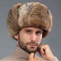 HT3262 Thick Warm Bomber Hat Men Real Rabbit Fur Earflap Trapper Russian Cap Male Plus Size Winter s for Ski