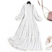 Entre os dias franceses seda vestido bordado 2021 temperamento de primavera elegante full-ed 17018 vestidos casuais
