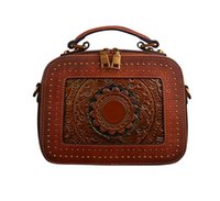 Summer Leather Bags Retro First Layer Cowhide Women's Handbags Totes Embossed Shoulder Messenger Bag Tide