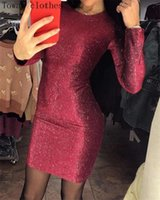 Casual Dresses Glitter Stamping Long Sleeve Dress Bodycon Sexy Elegant Club Night Party