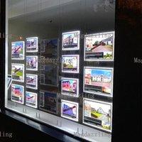 Paysage + 8pcs A3 Cadre de cristal à LED à double face Poche de lumière pour affiche de l'agence immobilière Afficher modules d'exposition