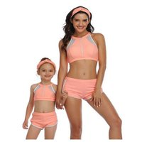 Summer Family Matching Swimsuit 2-pcs Sets Solid Color Bikini + Swimming Trunks Mother Daughter Clothes E2008 210610