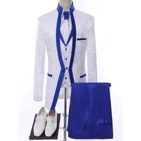 Branco Royal Blue Rim Stage Roupas para Homens Conjunto de Terno Mens Ternos de Casamento Fato do Traje Formal (Jaqueta + Calças + Vest + Tie Brazers Masculinos