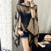 Women's Blouses & Shirts Women 2021 Summer Chiffon Cloak Top Bat Sleeves Loose Casual Sexy Irregular Printing Vintage Short Sleeve Sun Prote