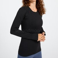 Womens Crew Neck Tracksuits Elastic Yoga Tops Designers Breathable Sports Tshirt Spring Autumn Long Sleeve Gym Fitness Wear
