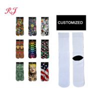 custom logo sublimation blank socks white plain 3d digital printed socks design your own photo crew tube sock for men and women