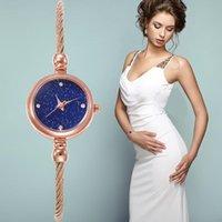 Lüks Kadın Saatler Cam Ayna Bilezik Izle Dairesel Analog İnce Kayış Altın Kuvars Saatı Bayanlar Relogio Feminino