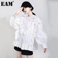 [EAM] Kadınlar Beyaz Ruffles Büyük Boy Bluz Standı Yaka Uzun Kollu Gevşek Fit Gömlek Moda Gelgit İlkbahar Sonbahar 2021 1DA984 kadın Bluzlar