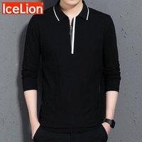 Icelion camisa sólida homens mangas compridas 2021 casual colarinho colarinho camisetas Slim Fit roupa masculina
